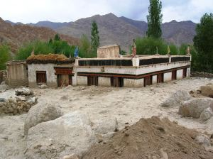 Traditional house near Nimo in rural Ladakh buried under muck and debris brought by flash floods